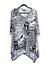 Womens Gray Black Plus Size 2X Tunic Top Animal Print in WearOrGoBare