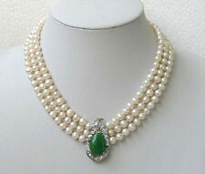 3 Rows Genuine 7-8mm White Pearl Emerald Jade Pendant WGP Clasp Necklace