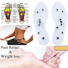 2 Pairs Men Women Magnetic Therapy Insole Silicone Weight Loss Massage Insoles