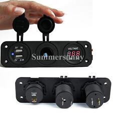Universal Triple Dual USB Charger Digital Voltmeter 12V Outlet Panel Socket LED