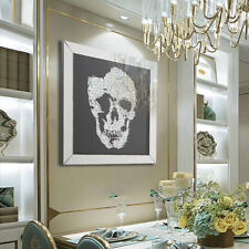Large Mirror Glass 3D Skull Crystal Jewel Home Decorative Modular Wall Picture
