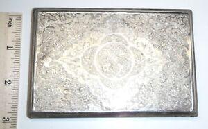 """Ornate Floral Persian .800 Silver Cigarette Case 156g 5.5oz ($118 Spot) 4⅝x3⅝"""""""