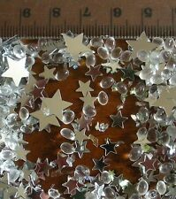 SILVER STAR BEAD AND IRIDESCENT GLITTER TABLE DECORATION APPROX 1/2 PINT