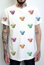 PUG FACES T-SHIRT - ACID COLOUR PRINT - VINTAGE  - UNISEX - PEAK CLOTHING