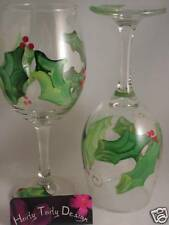 2 Hand-Painted Christmas Holly and Berries Wine Glasses