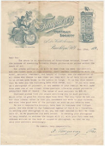 American 1891 Art Mail Fraud Promotional Letter from Tanqueray Portrait Society