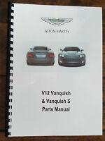 ASTON MARTIN V12 VANQUISH & S 01-07 PARTS MANUAL REPRINTED A4 COMB BOUND