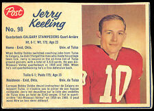 1962 POST CFL FOOTBALL #98 JERRY KEELING EX-NM CALGARY STAMPEDERS UNIV OF TULSA
