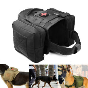 Tactical Dog Harness K9 Training Work Service Clothes Coat w 2 Molle Saddle Bags