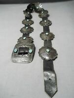 EARLY 1900'S VINTAGE NAVAJO TURQUOISE STERLING SILVER COIN CONCHO BELT OLD