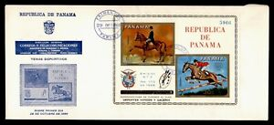 DR WHO 1968 PANAMA FDC OLYMPICS HORSE ART S/S IMPERF  g01479