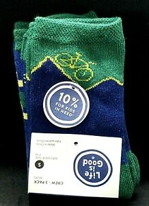 Boy's youth kids Life is Good 3 pack Crew Socks - fits shoe 7-10 Navy White