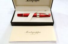 MONTEGRAPPA CLASSICA MARBLED RED ROLLERBALL PEN WITH SILVER CLIP & TRIM - NEW