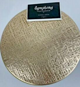 """Set of 4 Symphony 15"""" Round Holiday Vinyl Placemats with Open-cut Design"""