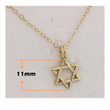 GOLD STAR OF DAVID PENDANT 14K YELLOW GOLD DESIGNER STAR STYLE מגן דוד