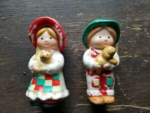 """1980 Holly Hobbie 3"""" Painted Porcelain Christmas Ornaments"""
