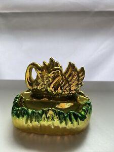 Vintage 1960's Gold & Green Lustre Ware Swan Ashtray Japan