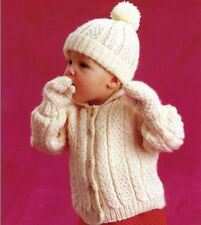 Knitting Pattern - Baby Boys Aran Cable Jacket, Hat & Mitts 51/56/61 cm   (141)