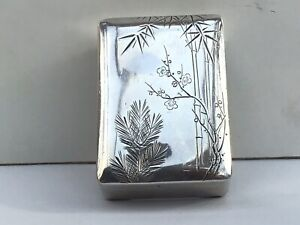 A Small Antique Japanese Silver Box, Marked at the Bottom, c.1910
