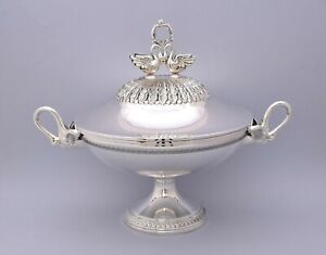 STYLISH SOLID SILVER TUREEN IN VERY GOOD CONDITION