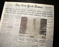 North American NEW YORK CITY BLIZZARD Snow Storm Wind 1947 NYC Times Newspaper
