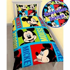 DISNEY MICKEY MOUSE REVERSIBLE BRIGHT SINGLE DUVET COVER KIDS OFFICIAL BEDDING