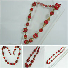 Art Deco Czech Neiger Brothers Necklace Red Glass decorative Gilt Metal links