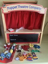 ELC Wooden Puppet Theatre Includes Finger Puppets And  Box.