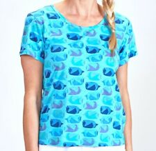 FRESH PRODUCE XXL Luna Blue FISH SCHOOL Vintage GO TO Tee Top NWT New XXL