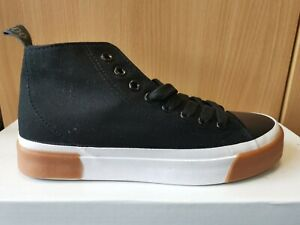 Ladies Black Canvas Lace-up Boots Shoes Trainers Sizes 3 4 5 6 7 8 9 *Brand New*