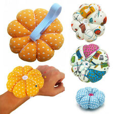 EG_ Sewing Needle Pin Cushion Pumpkin Shaped Holder Wrist Strap Craft Tool Rakis