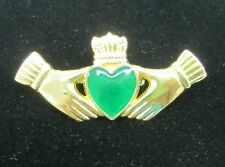 Signed GGI Gold tone Hands holding Green Heart Pin Brooch  St Patricks Day