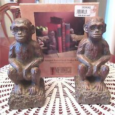 MELANCCO Sitting Monkey Chimp Ape Bookends Resin Figurines New In Box