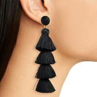 Long Black Tassel Earrings Dangle Long Drop Tassle Fringe Trendy Fashion Boho UK