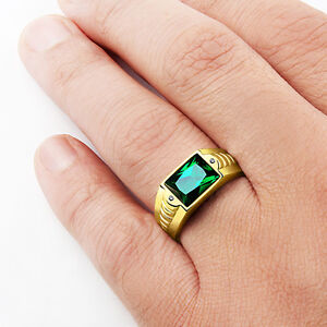 Mens Ring Green Emerald in SOLID 10K Yellow Gold Gemstone with Diamond Accents