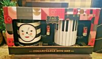 NEW FAO SCHWARZ CUP MUG SET EAT DRINK AND BE MERRY 20OZ EACH