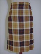 Vintage Brown Tan White Tartan Plaid Wool Pleated Kilt Wrap Skirt 14 Pendleton