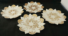 4 1860 Meissen Hand Painted Gold Bas Relief Grape Cabbage Leaf Cabinet Plates