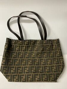 Vintage Fendi Zucca FF Pattern Tote Bag Canvas Handbag Purse Leather Brown AUTH