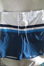 Gerry Men Swimming Short Size M Blue White/Teal Adjustable Waist New