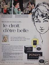 PUBLICITÉ 1957 CRÈME POND'S LE DROIT D'ÊTRE BELLE - ADVERTISING