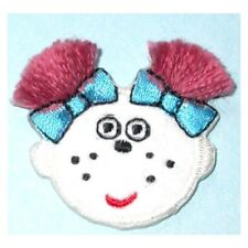 IRON ON PATCH APPLIQUE - GIRLS FACE WITH BLUE BOWS