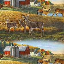~Yard Elizabeth's Studio Fabric, Whitetail Deer Fabric, Barn & Farm Field Scene