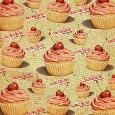 Cupcakes and Sunshine 8x8 Fabric Block - Great 4 quilting, Pillows & Embroidery!
