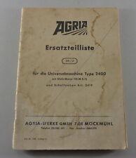 Teilekatalog / Ersatzteilliste Agria Universalmaschine Typ 2400 Stand 1965