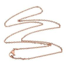 Fashion Women 18K Rose Gold Plated Stainless Steel Necklace Chain Jewelry Gift