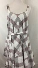 Esley Women's Size Small White Black Red Plaid Sleeveless Dress NWT 100% Cotton