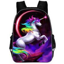16'' Fashion Rainbow School Bag Travel Rucksack Kid's Backpack Girls Gift
