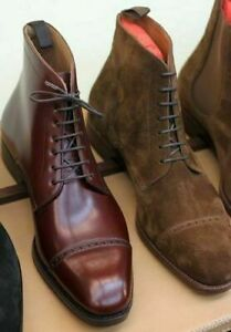NEW-MEN HANDMADE BOOTS MEN BURGUNDY COWHIDE & BROWN SUEDE HIGH ANKLE BOOTS