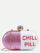 Chill Pill Shape Clutch Rhinestone Ball Closure Glitter Long Strap Purse Bag New